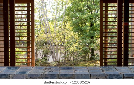 Empty stone shelf on japanese garden background for product display