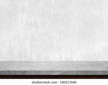 Empty stone table top on white concrete background, Template mock up for display of product.