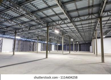 empty storage room, warehouse or hangar