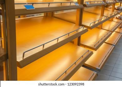 empty store shelf in the super market