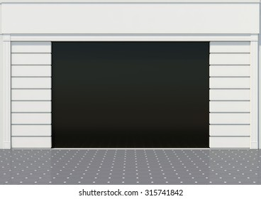 An empty storefront of shop or showcase