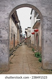 Empty street of an ancient town in Anhui province in China stylized and filtered to look like an oil painting