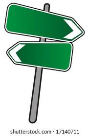 Empty Street arrows sign, illustration on white background