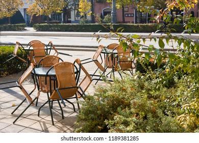 Empty street cafe in autumn, Debrecen, Hungary