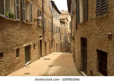 Empty street in Italian village.