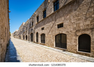 Empty street of knights (Ippoton) in City of Rhodes (Rhodes, Greece)