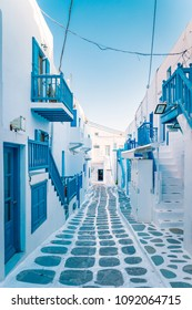 empty street of Mykonos Greece, Mikonos village