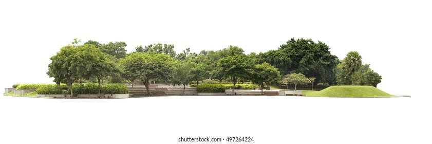 Empty street at the nice and comfortable great garden isolated at white background