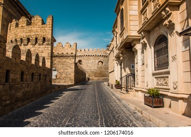 Empty street in old city of Baku, Azerbaijan. Old city Baku. Old City buildings in the summer hot day.