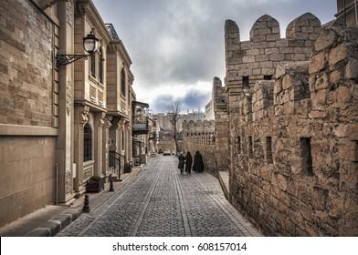 Empty street in old city of Baku, Azerbaijan. Old city Baku. Inner City buildings. Early spring time
