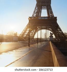 empty street in Paris, France