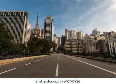 Empty Street in Sao Paulo City Downtown