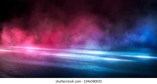 Empty street scene background with abstract spotlights light. Night view of street light reflected on water. Rays through the fog. Smoke, fog, wet asphalt with reflection of lights. Blue and pink neon