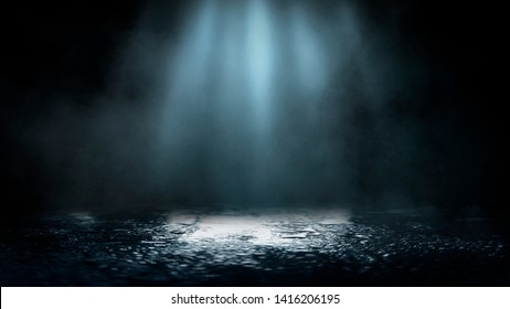 Empty street scene background with abstract spotlights light. Night view of street light reflected on water. Rays through the fog. Smoke, fog, wet asphalt with reflection of lights.