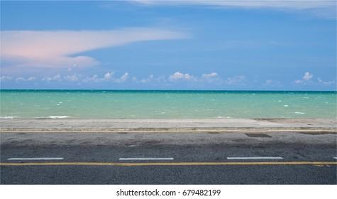 Empty street at the sea.
