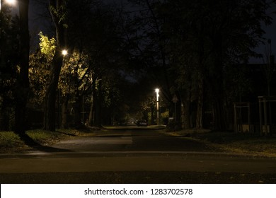 Empty street in the suburb during night