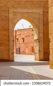 Empty street through a gate in the Medina of Marrakech, Morocco
