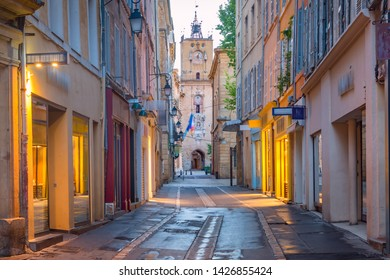 Empty street and Town Hall Clock Tower in Aix-en-Provence in the morning, Provence, southern France