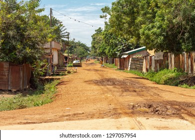 Empty street view in Bangui Central African Republic. Empty streets after ethnic clashes.
