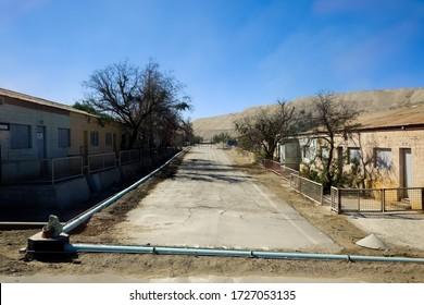 Empty streets in the ghost town of Chuquicamata, near the Chuquicamata copper mine and Calama in the Atacama Desert, Chile