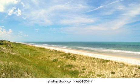 An empty stretch of Vilano Beach located on highway A1A in Florida. Vilano Beach is a short distance north of Saint Augustine, Florida.