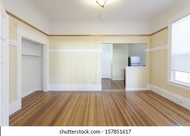An empty studio apartment