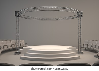 Empty studio stage white