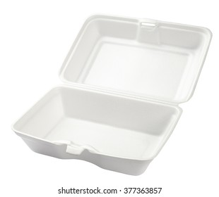 Empty styrofoam box isolated on white background