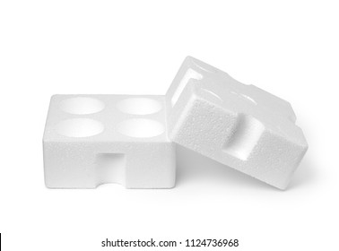 Empty styrofoam box on white background
