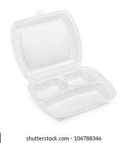 Empty styrofoam meal box isolated on white background