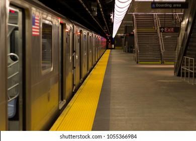 Empty Subway station in New York, Manhattan