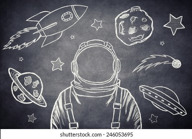 Empty suit astronaut on a background of outer space