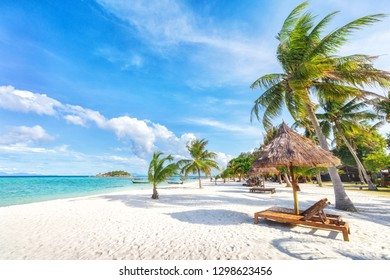 Empty sunny Koh Lipe Beach with tall palms and beach bungalows