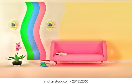 Empty sunny stylish minimalist modern living room with pink sofa, sconce and flower. 3D rendering.