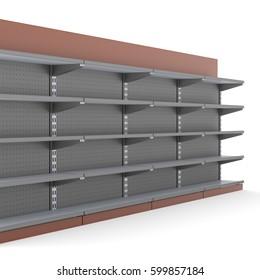 Empty supermarket shelf. 3D rendering