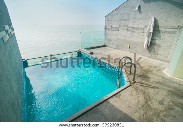 Empty Swimming Pool Outside Hotel Room Stock Photo (Edit Now ...