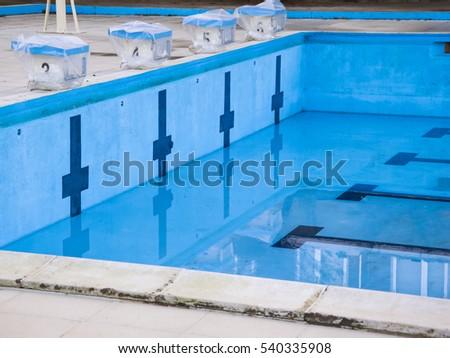 Empty Swimming Pool Swimming Starting Blocks Stock Photo ...