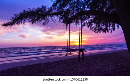 Empty Swing at Sunset Beach