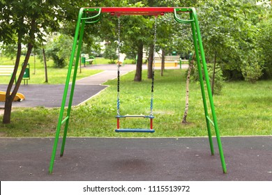 "Empty swings on the children's playground, the concept of ""Childhood is over"""