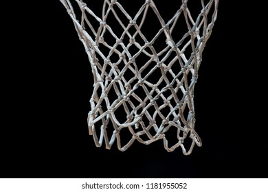 Empty Swooshing Basketball Net Close Up with Dark Background