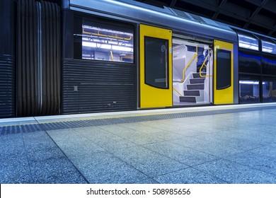 Empty Sydney subway platform