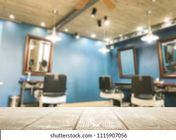Empty table in the barbershop