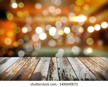 empty table with blurry cafe background