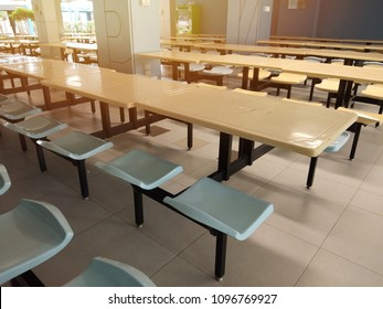 Empty table and chair in canteen, cafeteria interior at Bangkok: Thailand, 2017.