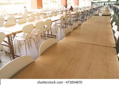 Empty table and chair in canteen, cafeteria interior