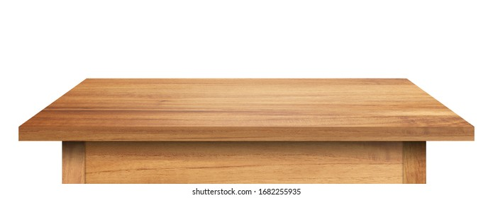 empty table made from old pine wood isolated on white background for display or product