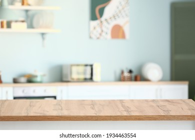 Empty table in modern kitchen