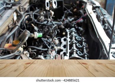 Empty table on  car engine.