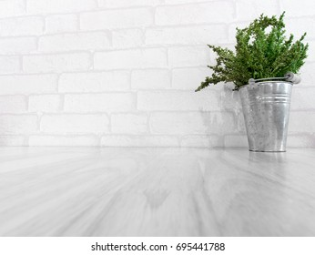 Empty table with a plant pot in the white vintage room for montage display product
