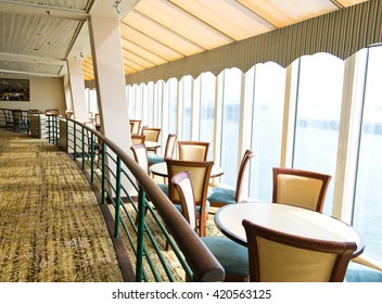 Empty tables at a luxury cruise restaurant